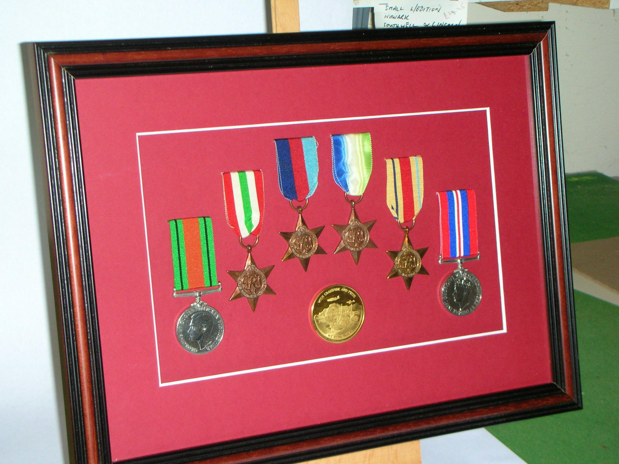 Medals with a red mount