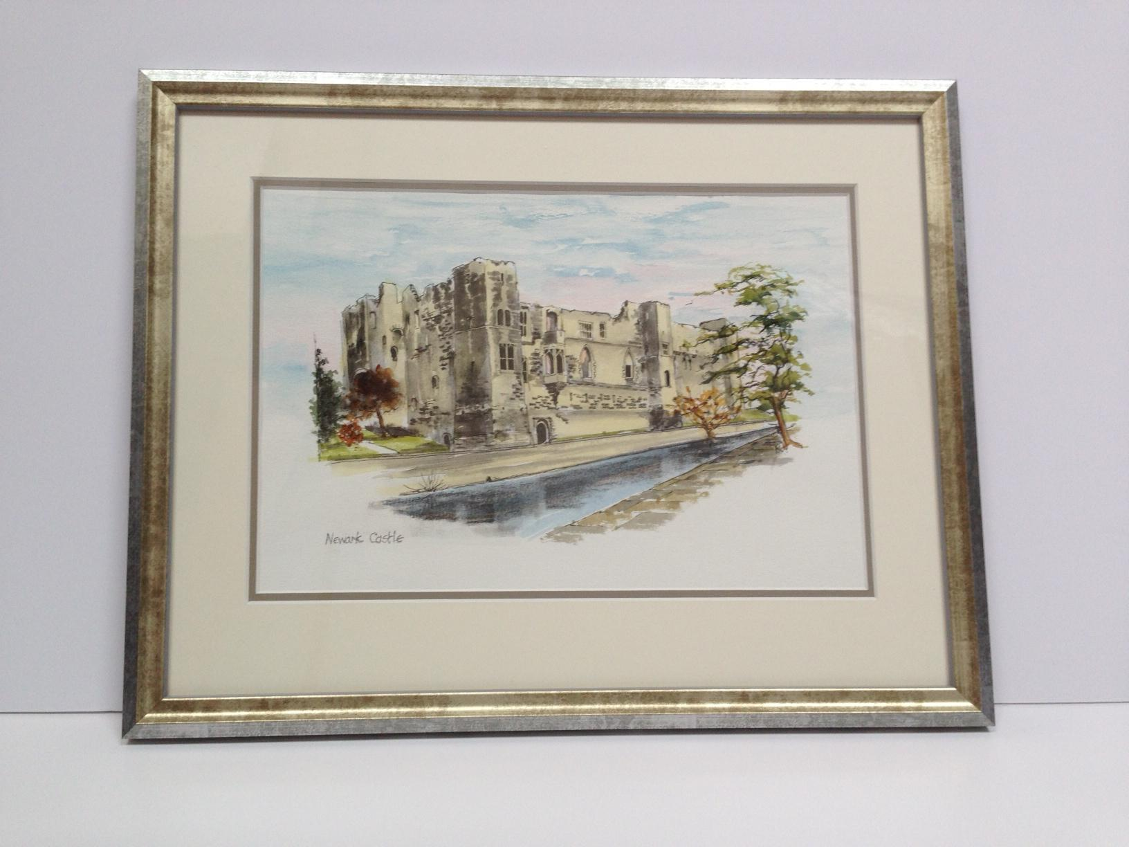 Newark Castle double mounted and framed