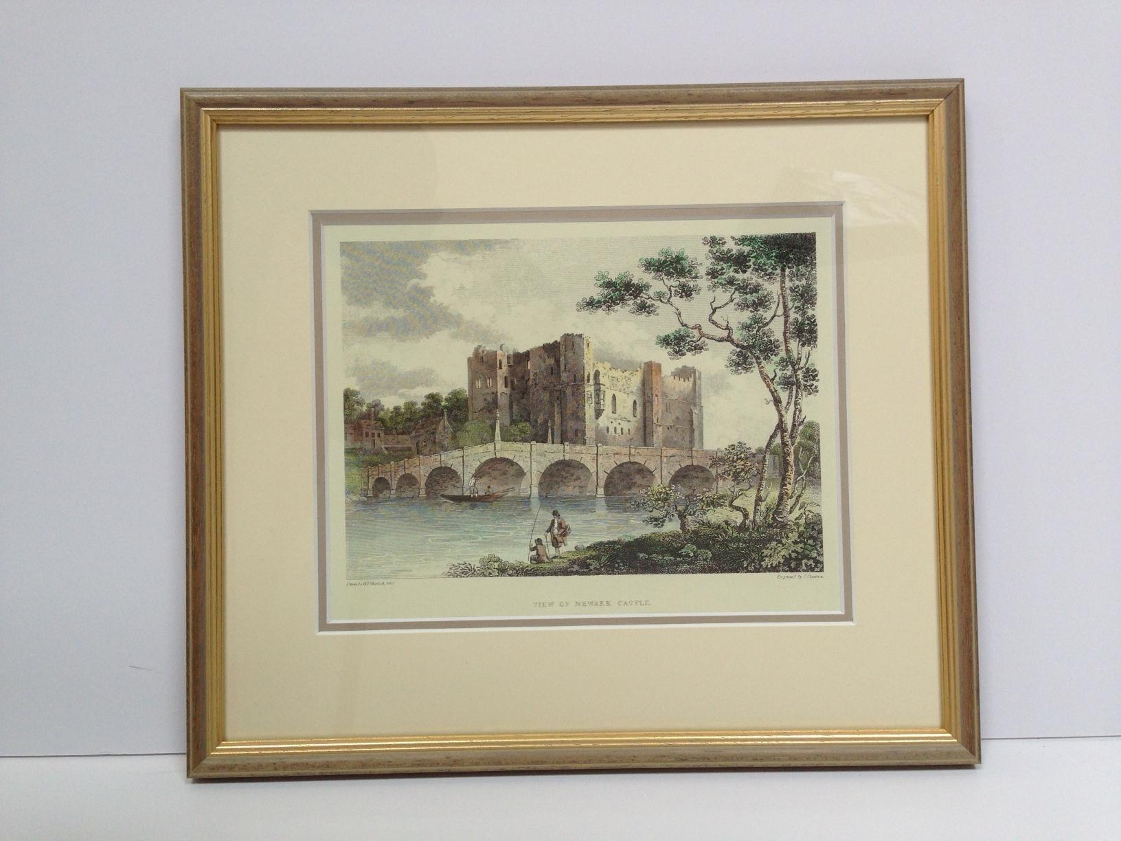 Newark castle engraving framed