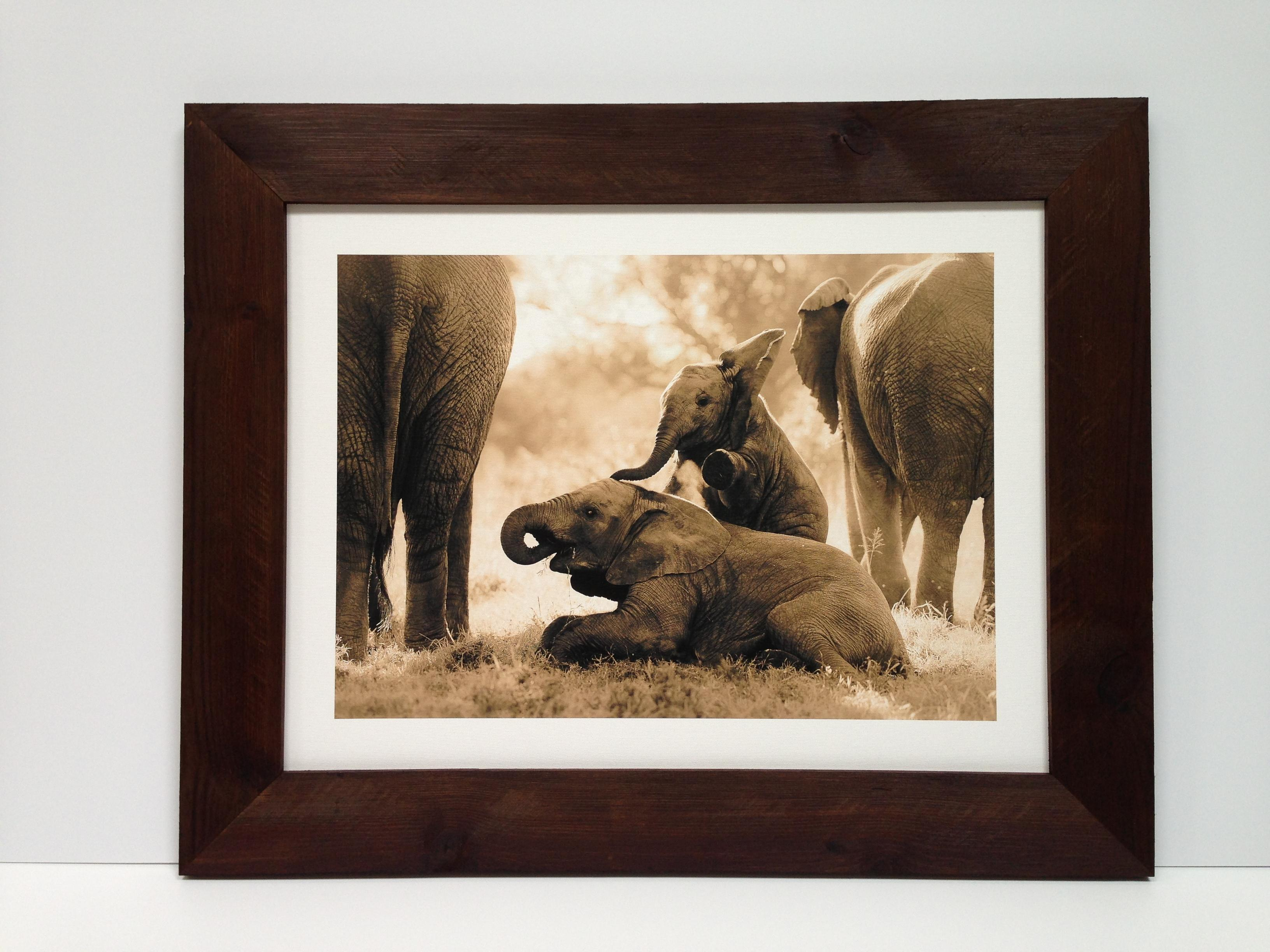 Elephant print framed in handmade and stained rough wood frame